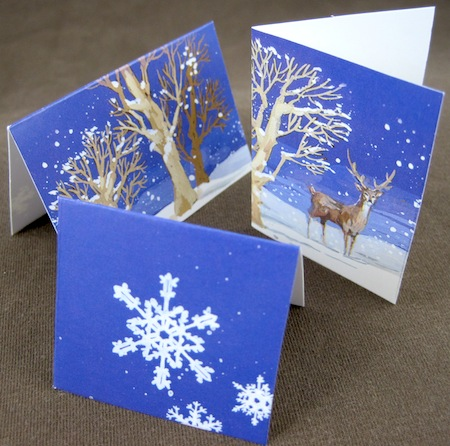 Three pictures cut from one Christmas card, and turned into little folded gift tags