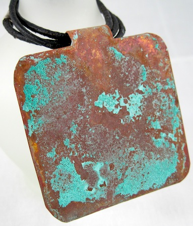 verdigris patina on copper