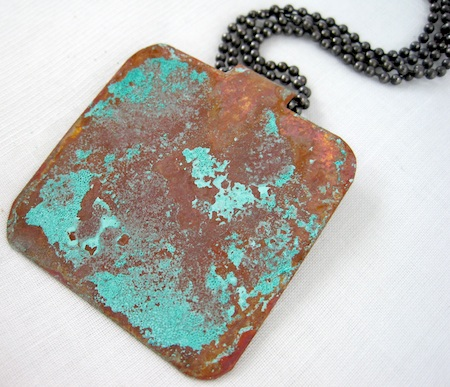 Rustic Copper Foldover Pendant with Vinegar and Salt Patina by Rena Klingenberg