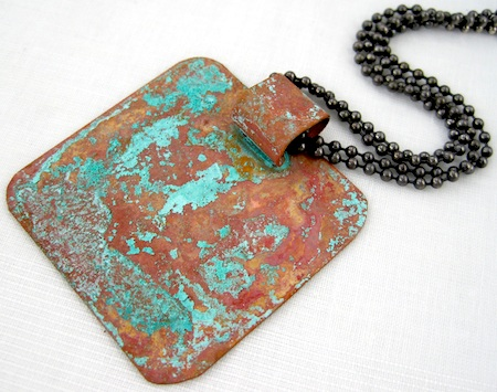blue green patina on copper