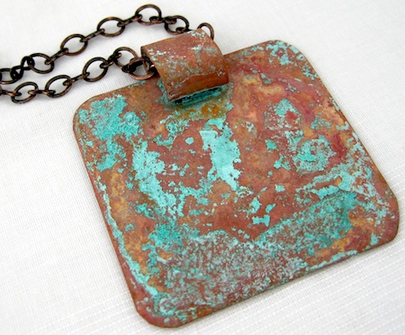 vinegar and salt patina on copper pendant