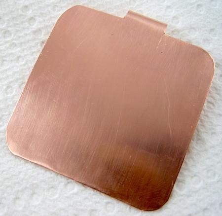 Copper foldover pendant by Rena Klingenberg