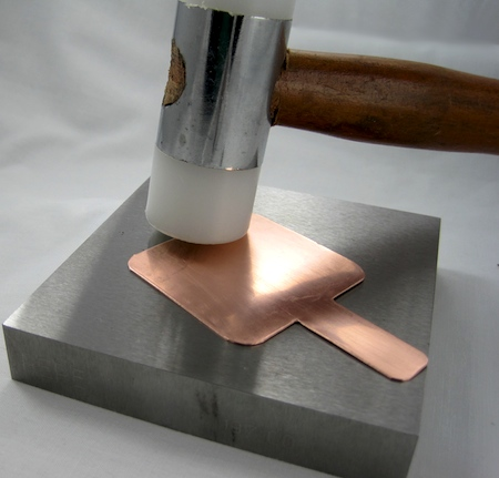 Hammering your copper pendant