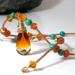 Amber teardrop necklace by Dianne Culbertson