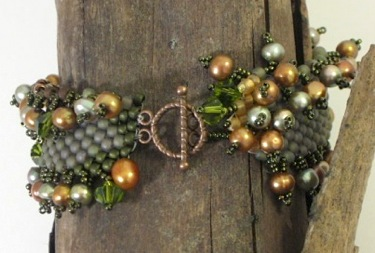 Sage peyote pearls bracelet by Dianne Culbertson