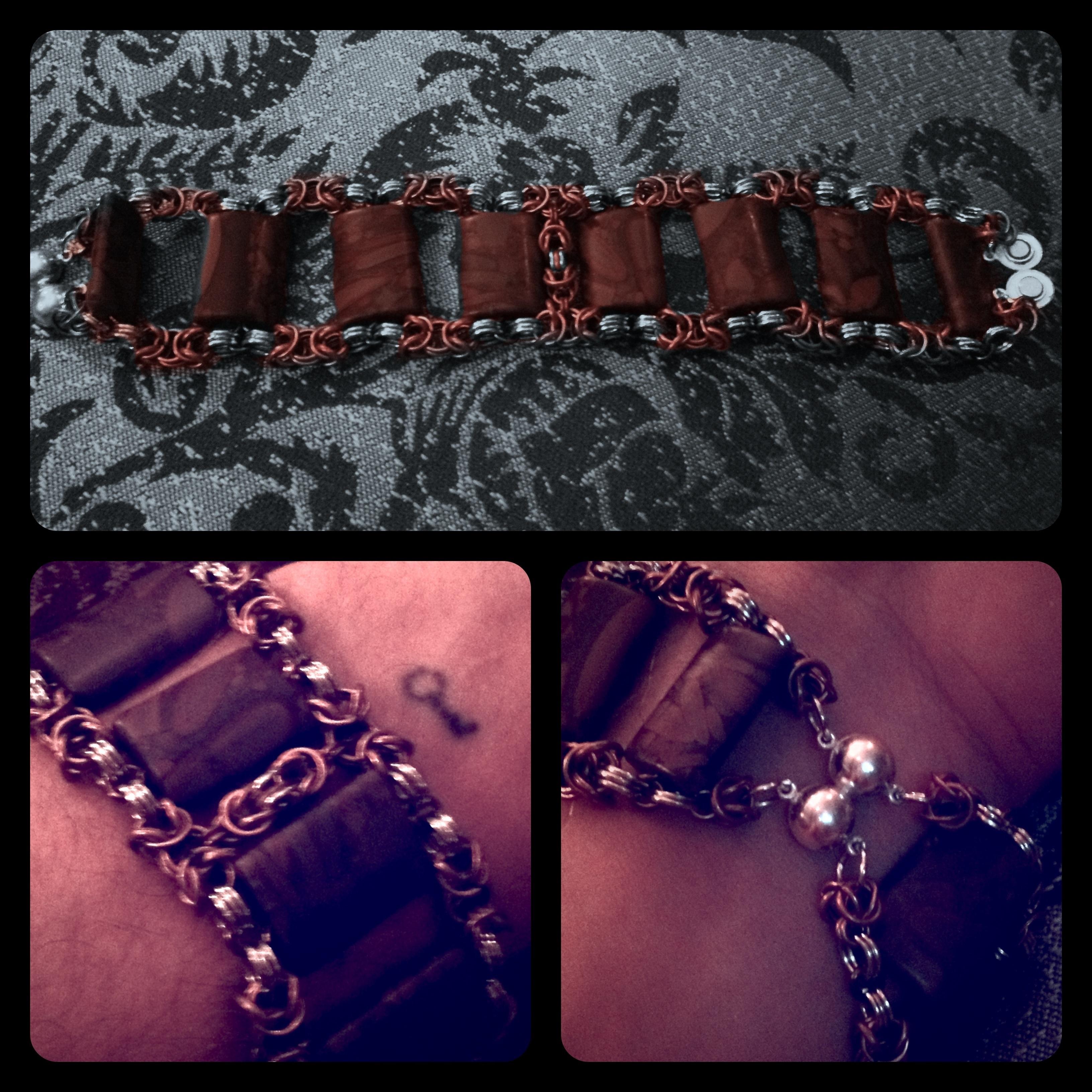 Jasper Tile Byzantine Chainmaille Bracelet