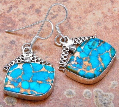 Jewelry party games, anyone? (Blue copper turquoise and sterling silver earrings - J.D. Kelly Jewelry.)