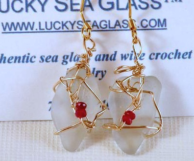 White sea glass from Lake Erie, combined with genuine rubies and 14k goldfill wire