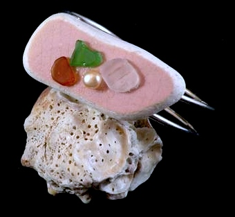 Pink beach tile found in Lake Erie, with white, amber, and green sea glass from Hawaii, and freshwater pearl on a sterling silver plated bangle