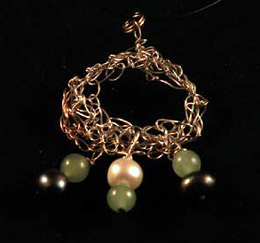 Sterling silver and 14K yellow gold filled crocheted pendant with aventurine and freshwater pearl drops