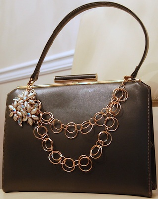 1940s leather handbag, newly embellished with removable chain and 1940s brooch