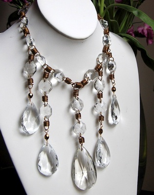 1950s crystal chandelier drops transformed into a necklace