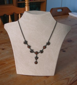 Figure 1: Front of homemade necklace display,covered with imitation leather.