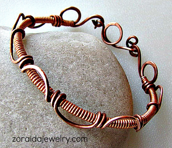 Coils and Scrolls Copper Bangle