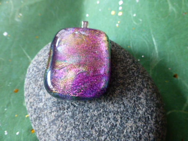 Dichroic Fused Glass Cotton Candy Pendants