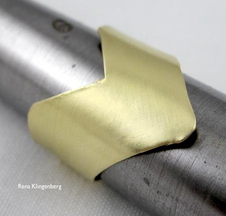 Brass chevron ring by Rena Klingenberg