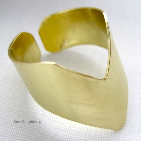 Adjustable brass chevron ring by Rena Klingenberg