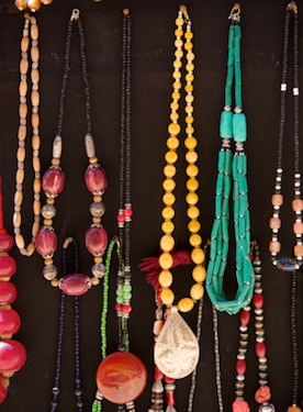 Jewelry hanging from a display boardis easy to shop from.