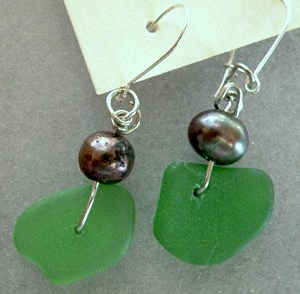 Sea glass earringsby Jean Forman of Lucky Sea GlassTM
