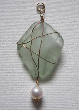 Sea glass pendantby Jean Forman of Lucky Sea GlassTM