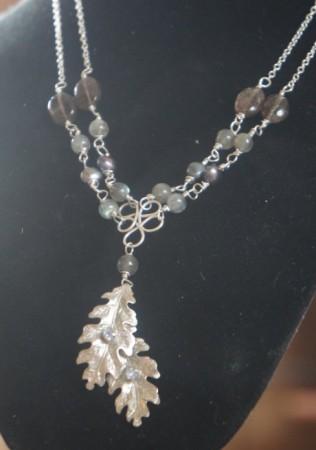 Sterling silver, labradorite, freshwater pearls, smoky quartz and upcycled vintage rhinestones.