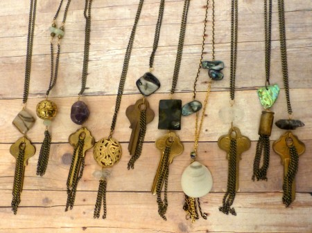 Tassel Necklaces with Vintage Keys & Trinkets