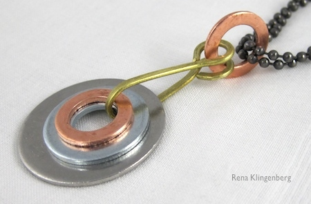 Mixed Metal Industrial Pendant by Rena Klingenberg