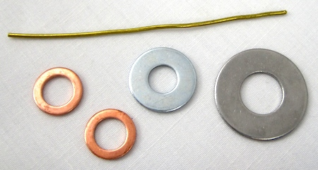 washers and wire for jewelry