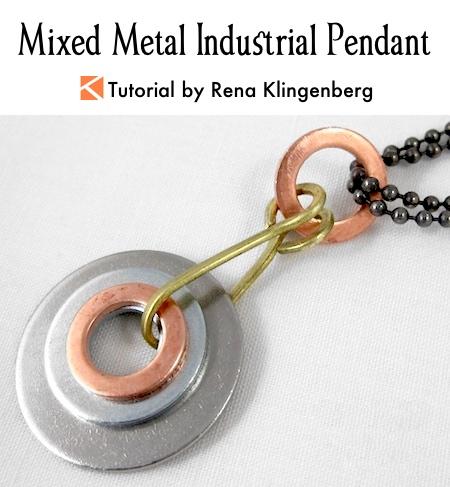 Mixed Metal Industrial Pendant Tutorial by Rena Klingenberg