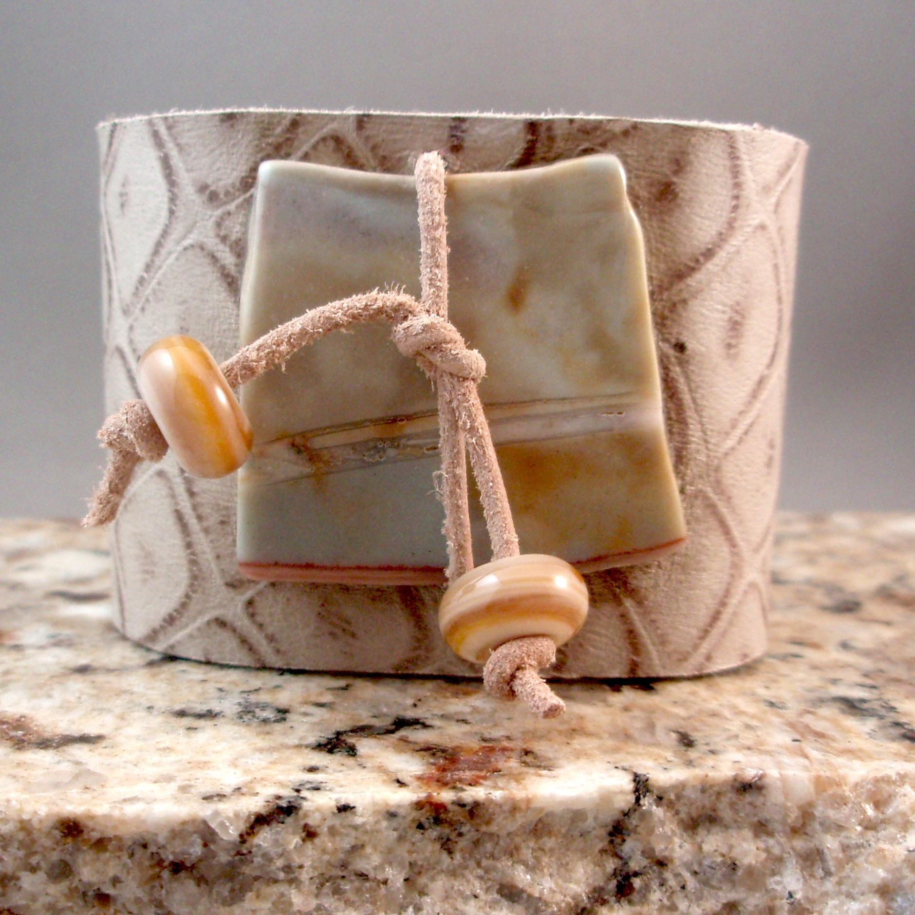 Patterned Leather Cuff with Gemstone