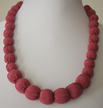Subdued Cranberry Silk Necklace