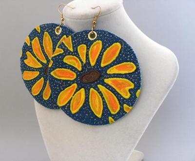 denim sunflower earrings