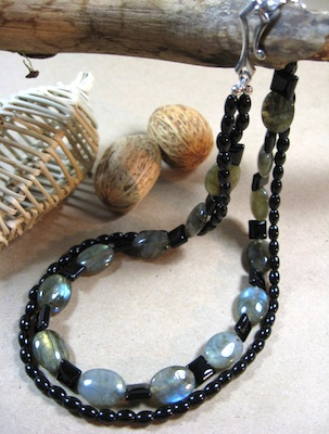 necklace - labradorite and onyx