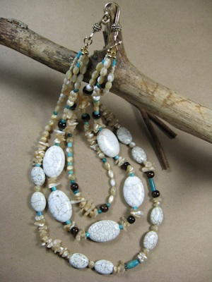 Mother Earth necklace - magnesite, turquoise, and mother of pearl necklace