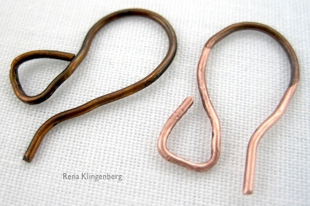 copper earwires cleaned with ketchup