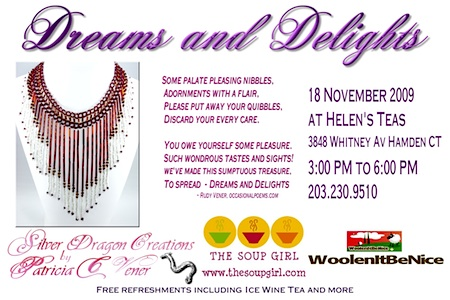 "Postcard designed by Patricia Vener to promote her ""Dreams and Delights"" open studio show."