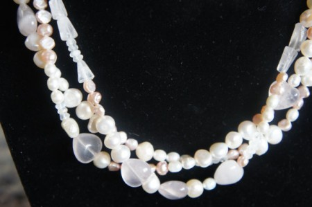 silver and pink freshwater pearl necklace.