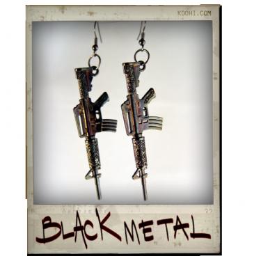 """""""Black Metal"""" Rifle Gun Earrings"""