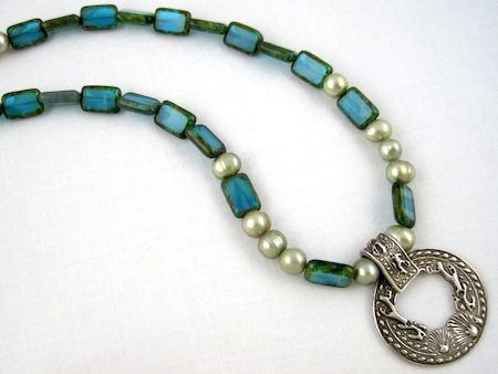 Pendant by Cayman Island artist; necklace by Rena Klingenberg