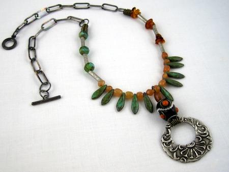Pendant by Lora Hart; Necklace by Rena Klingenberg