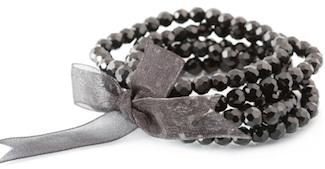 black beaded bangle bracelet