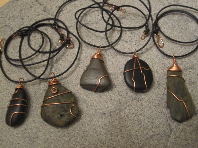 Treasures from the river wire wrapped stones jewelry for How to make rock jewelry