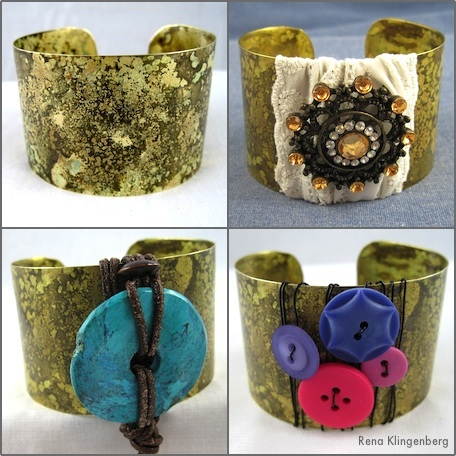 Give one cuff bracelet three different looks with these quick, simple makeovers - tutorial by Rena Klingenberg.