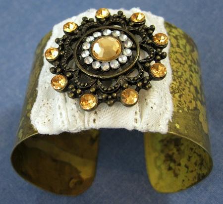 Boho Brooch Cuff Bracelet Makeover - Tutorial by Rena Klingenberg