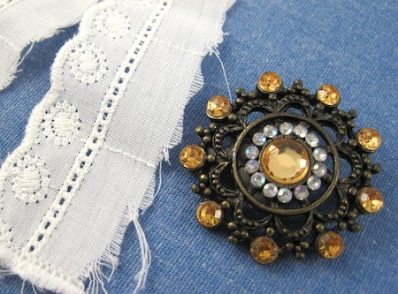 Supplies for Boho Brooch Cuff makeover