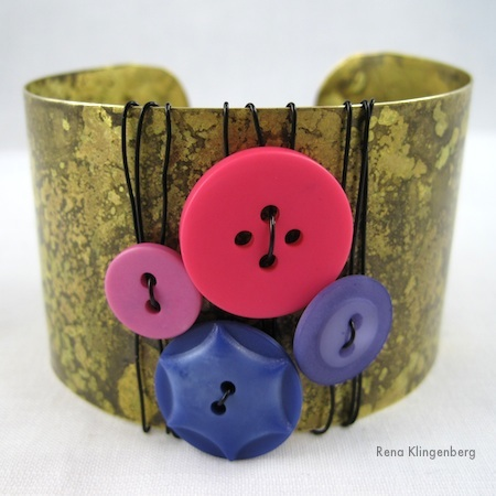 Burst of Color Cuff Bracelet Makeover - Tutorial by Rena Klingenberg