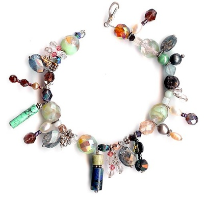 Mixed bead whimsical bracelet by Janine Gerade.