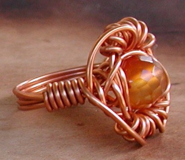 Orange Blossom Carnelian copper ring by Laura Christensen Wells.