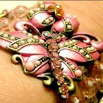 Detail of enameled and Swarovski crystal Dragonfly Bracelet by Leslie Easte