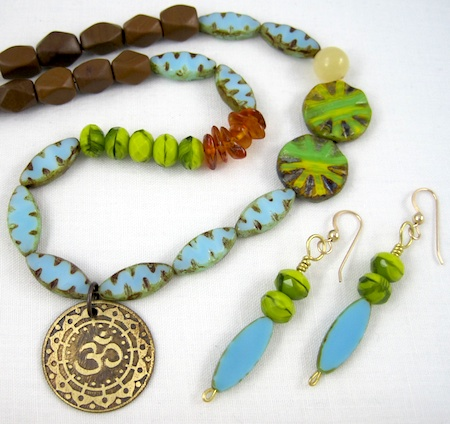 Tropical Tranquility Choker and Earrings by Rena Klingenberg